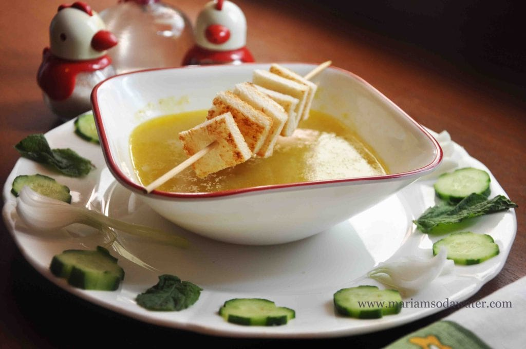 cucumber soup hot recipe with croutons.