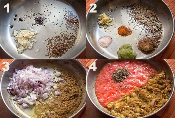 Step 1-4 to make aloo palak.