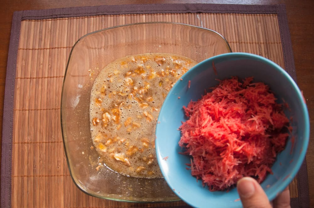 Also add the finely grated carrots.