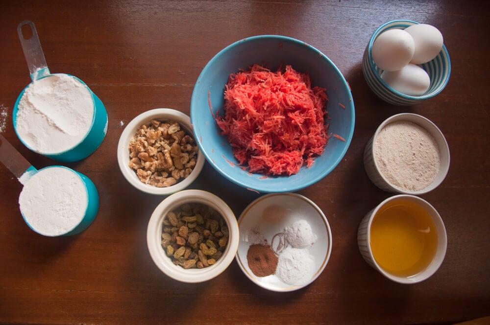 Ingredients of carrot cake