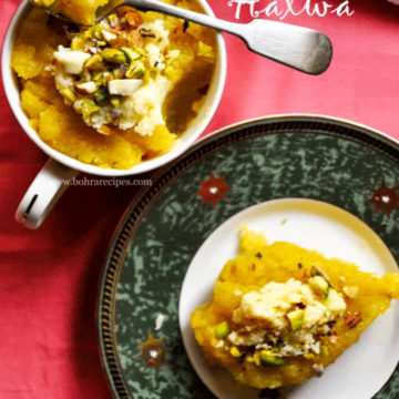 sooji halwa served in a plate.