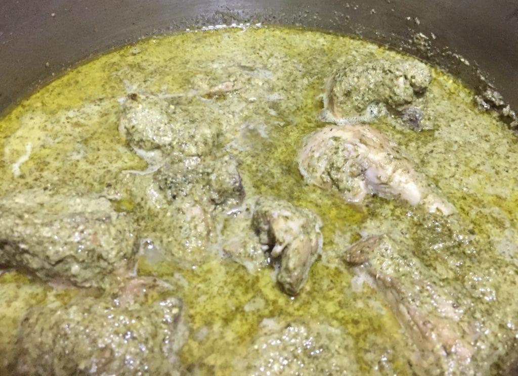 Hariyali chicken curry is ready.