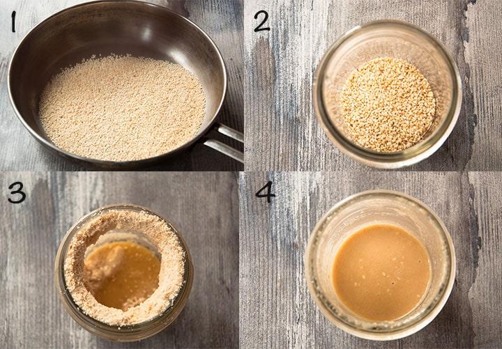 Steps to make tahini sauce.