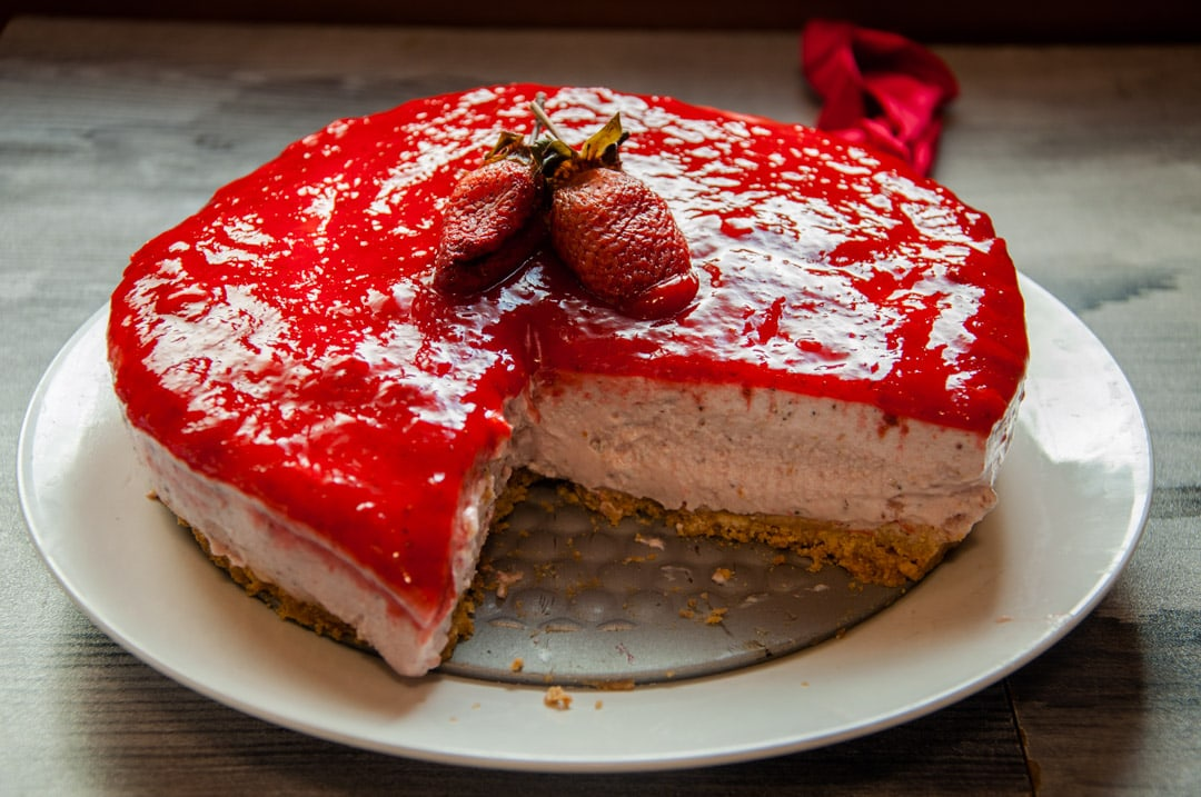 Peachy Strawberry Cottage Cheese Cake Recipe Video Tutorial Recipe52 Com Funny Birthday Cards Online Barepcheapnameinfo
