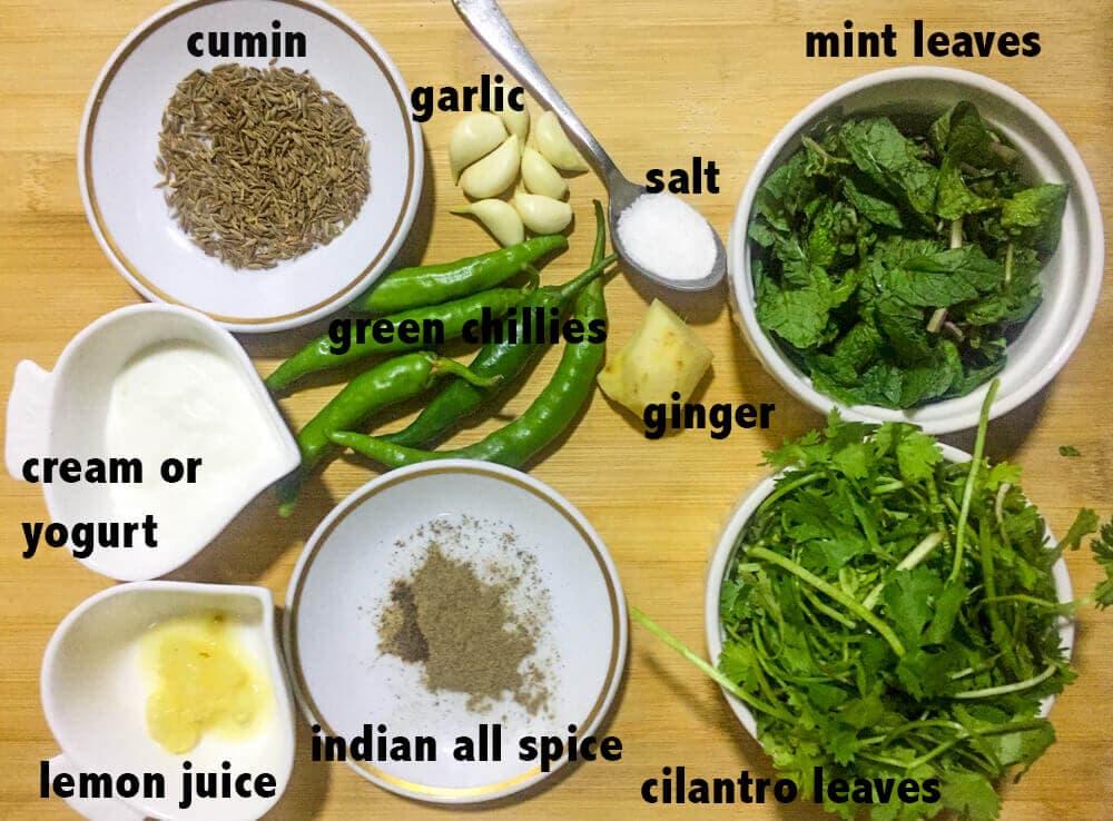 Ingredients for hariyali chicken tikka