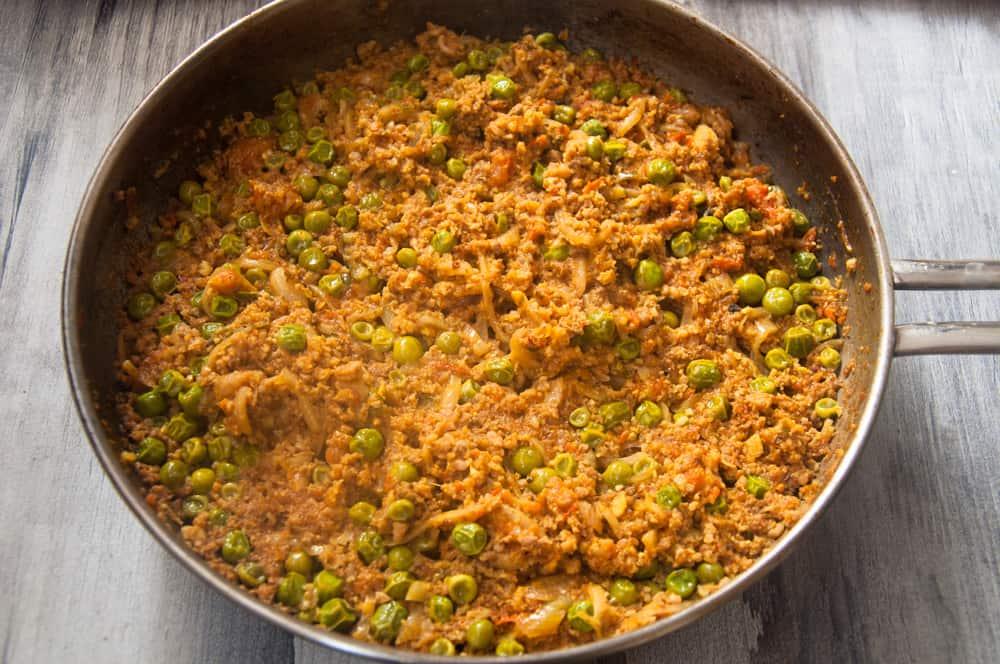 keema matar is cooked.