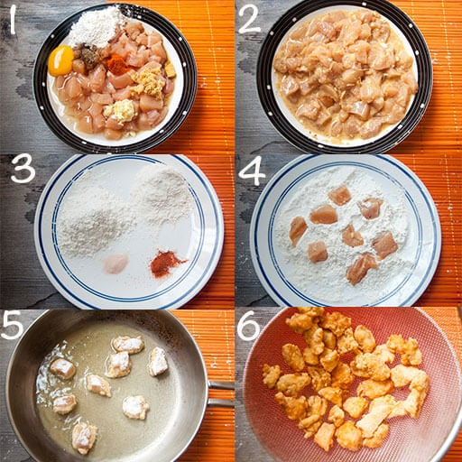 Steps to make fried chicken.