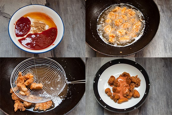 Steps to fry dynamite chicken and coat with dynamite sauce.
