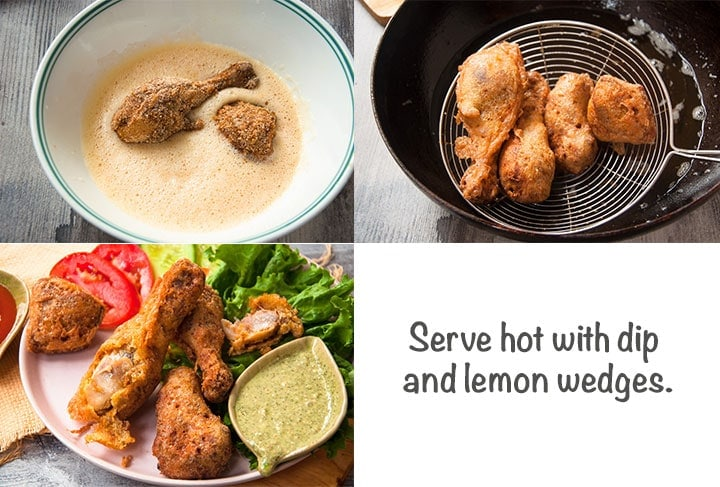 Steps to fry coated chicken in hot oil.