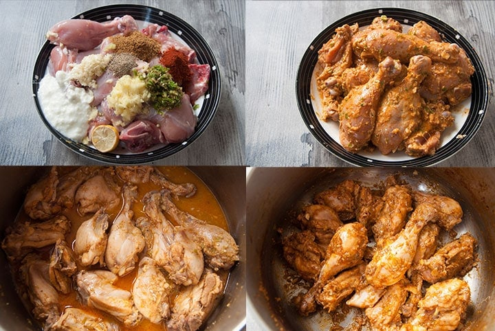 Steps to marinate and cook chicken.