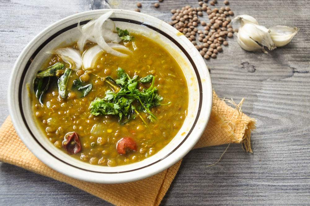 Masoor daal served in bowl.