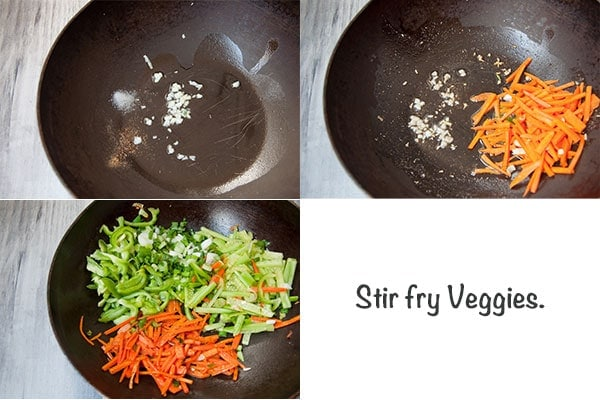 Steps to make Veggies for chicken noodles.