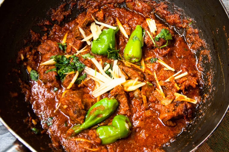 Lamb Karahi close-up view that is ready to eat.