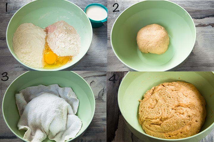 Steps to make whole wheat pita bread dough.