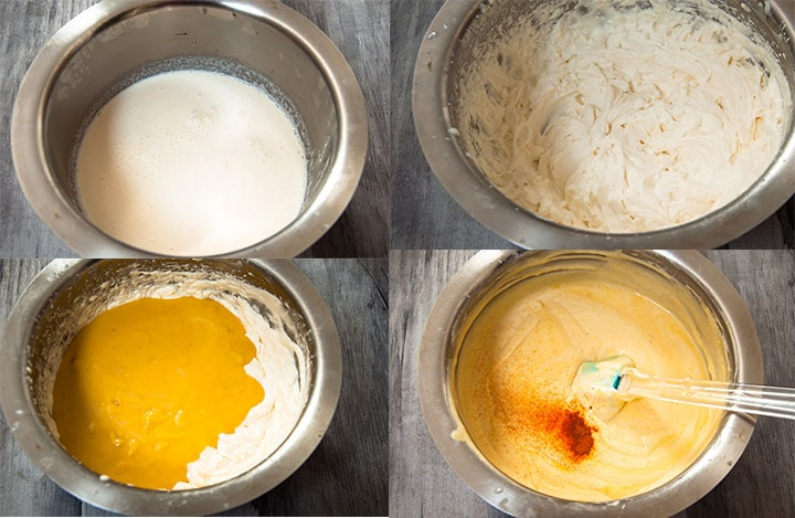 Four image combined together to show the steps of whipping cream and mixing mango-condensed milk mixture with whipped cream.