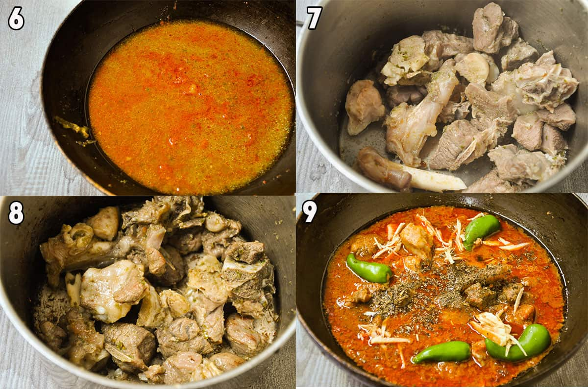 Steps to fry gosht and assemble.