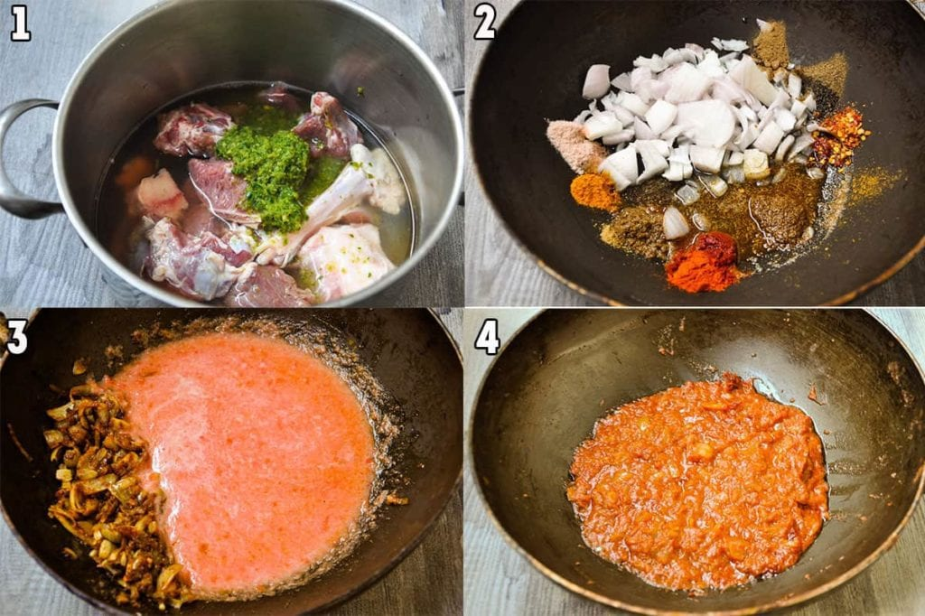 Steps to boil lamb or mutton and make tomato gravy.