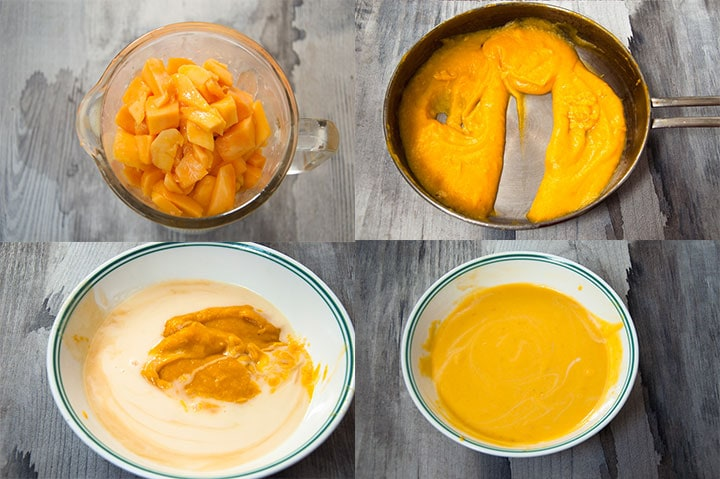 Four images combine to show steps to make mango pulp and combine it with condensed milk.