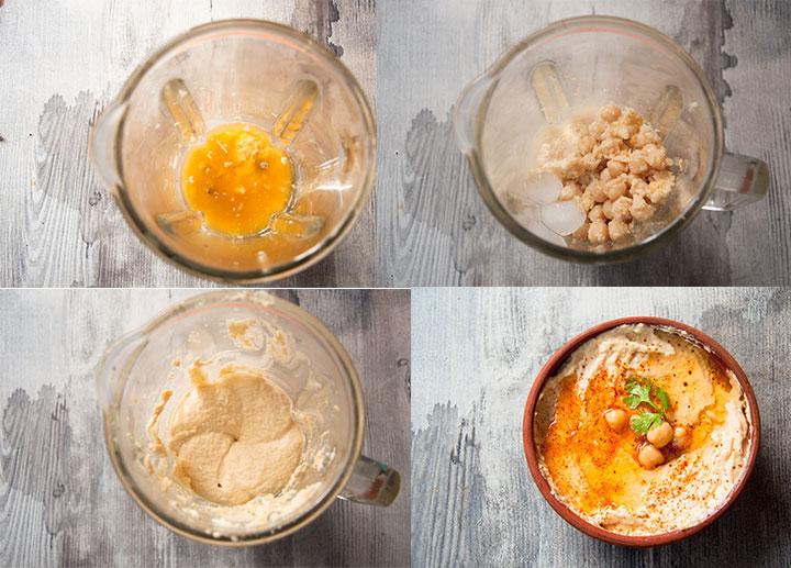 Steps to make hummus without tahini.