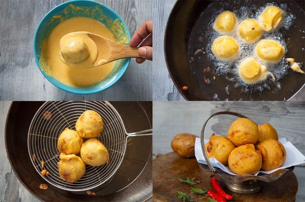 Steps to fry batata Vada