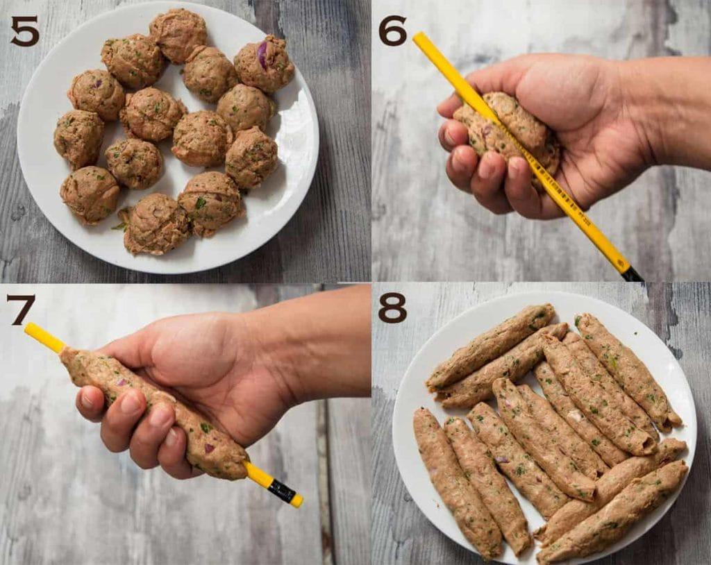 Steps to roll homemade seekh kabab.