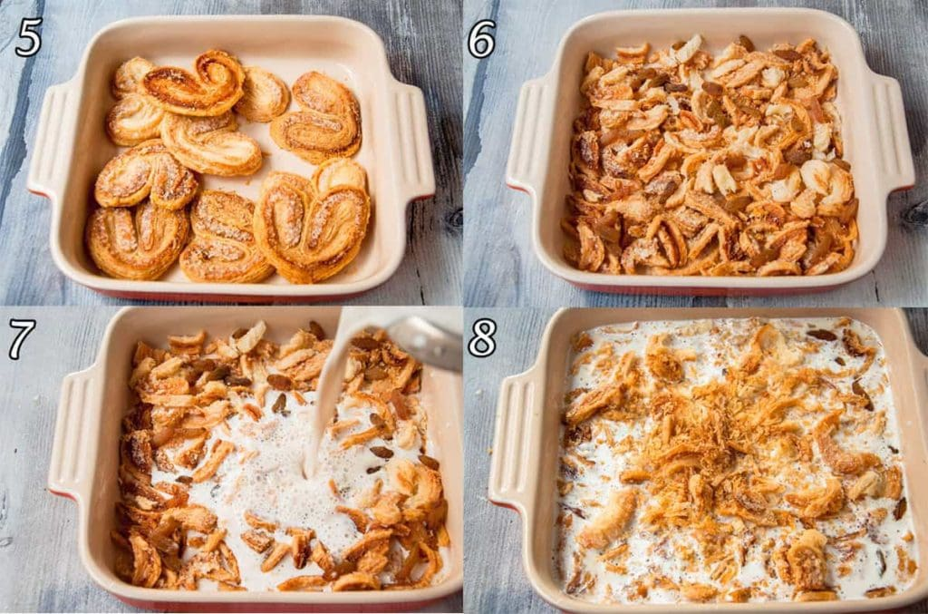 A collage of four photo showing how to assemble a casserole.