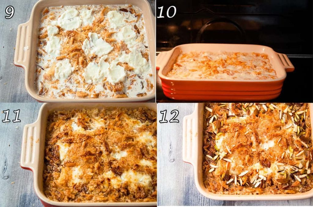 a collage of four photo showing how to bake and garnish.