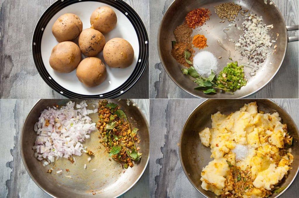 Steps to boil, mash and season potato.