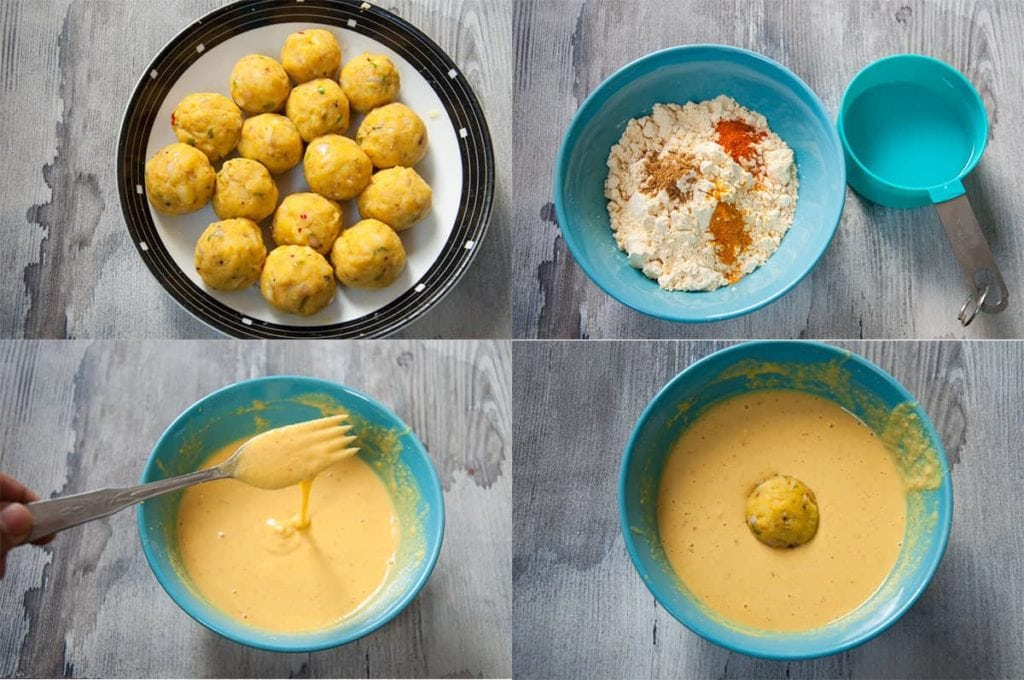 a collage of 4 images showing steps to roll and dip indian potato dumpling in chickpea flour batter.