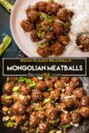 A collage of two images with overlay text saying Mongolian meatballs