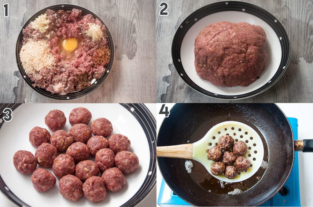 Steps to make meatballs and fry it.
