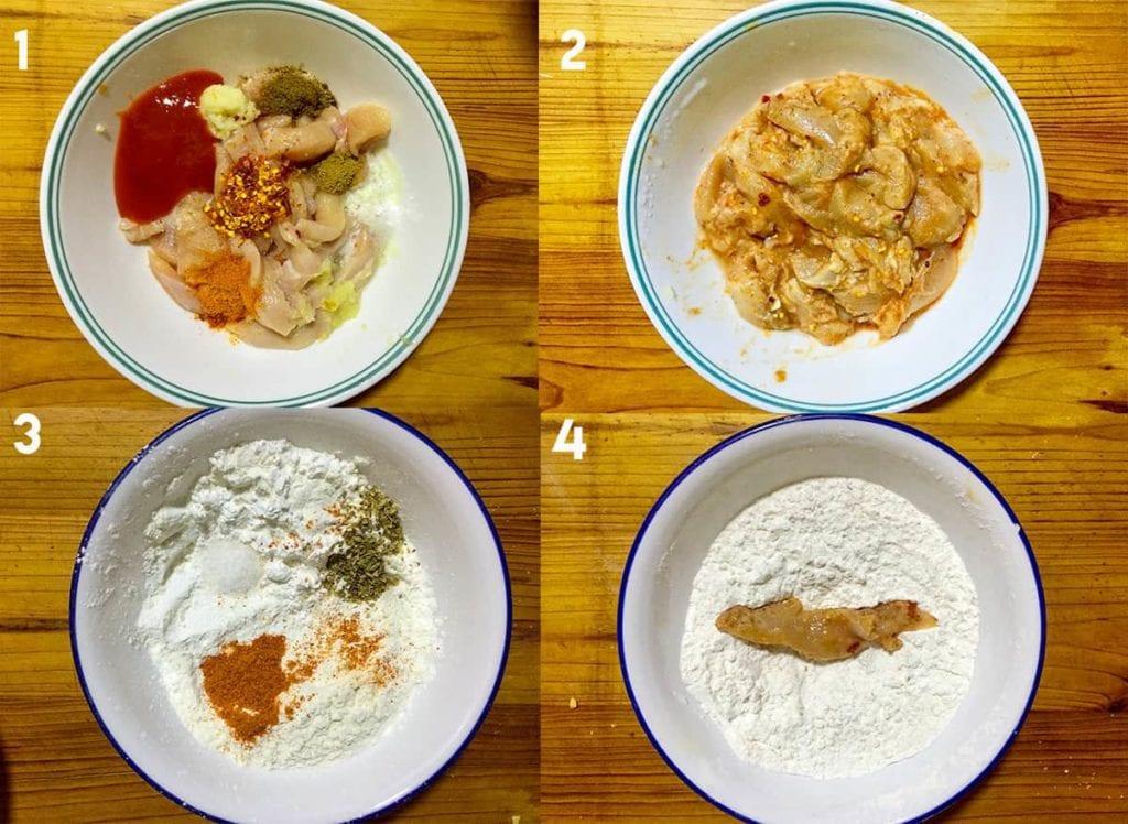 Steps to marinate chicken strips.