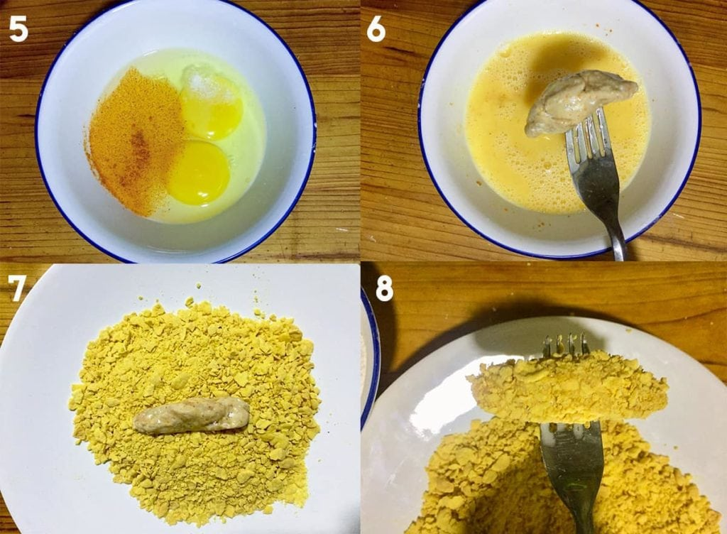 Steps to dip chicken in egg wash and coat with cornflakes.