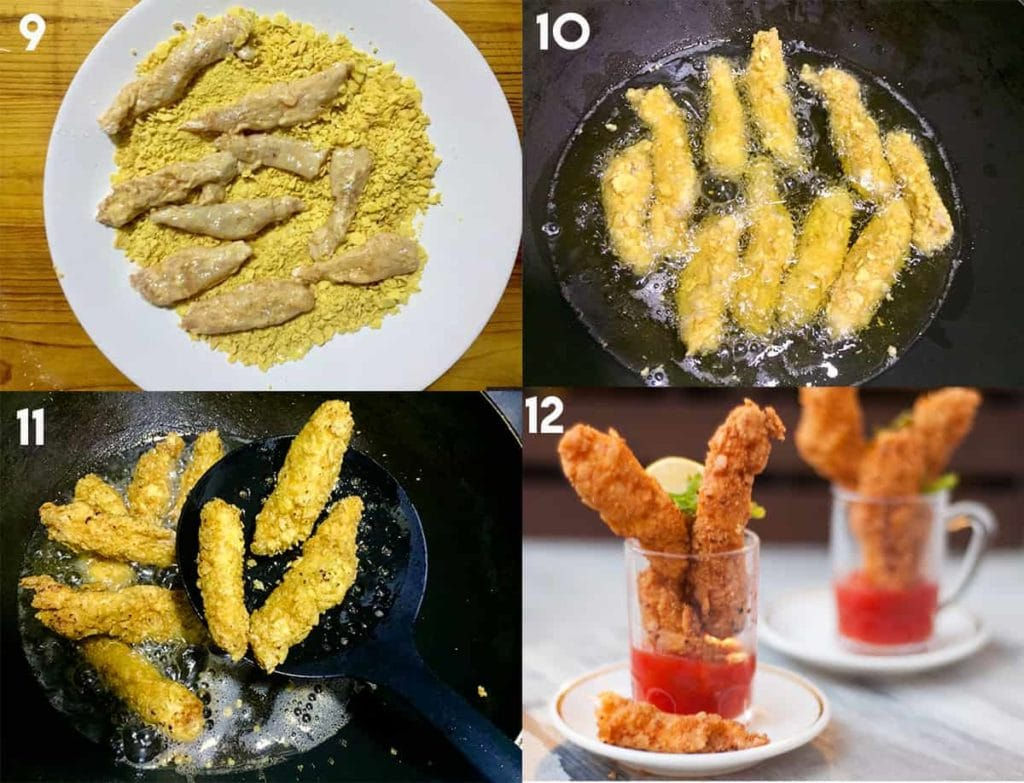 Step to coat chicken strips in cornflakes and fry it.