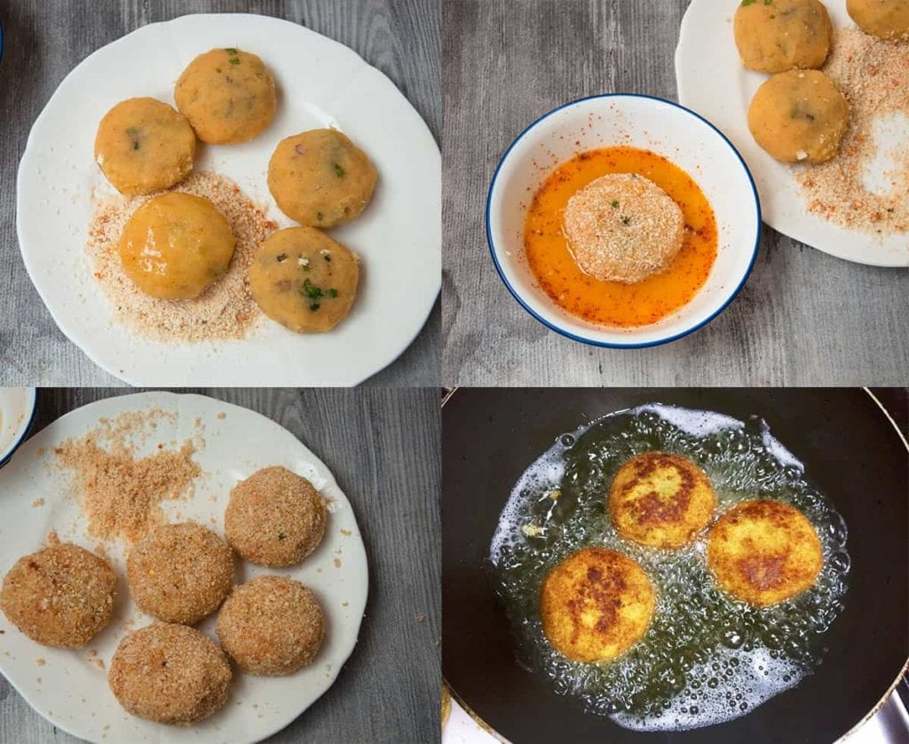 Steps to coat stuffed potato ball with bread crumbs and fry aloo keema patties or cutlets.