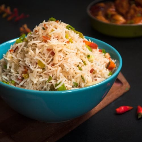 Veg fried rice served in a bowl.