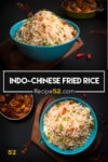 A collage of two images showing fried rice from two angles.