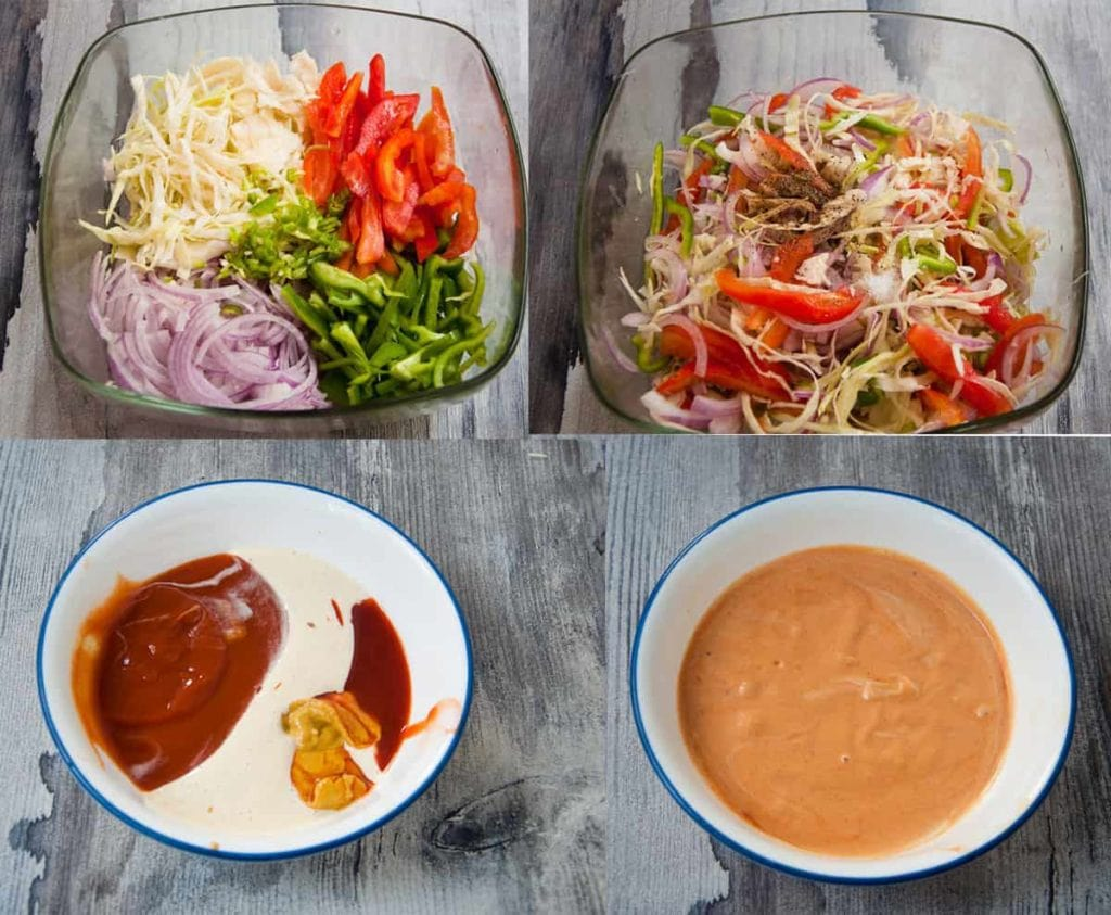 a collage showing steps to make veggies filling and sauce.