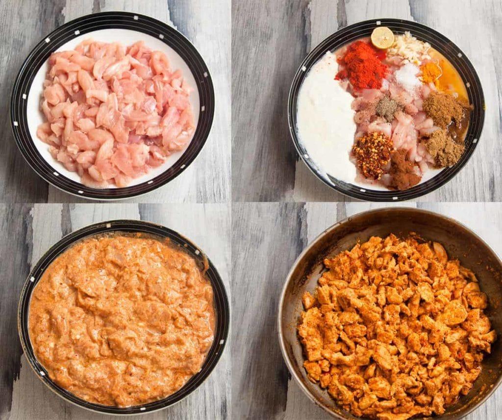 steps to make chicken filling.