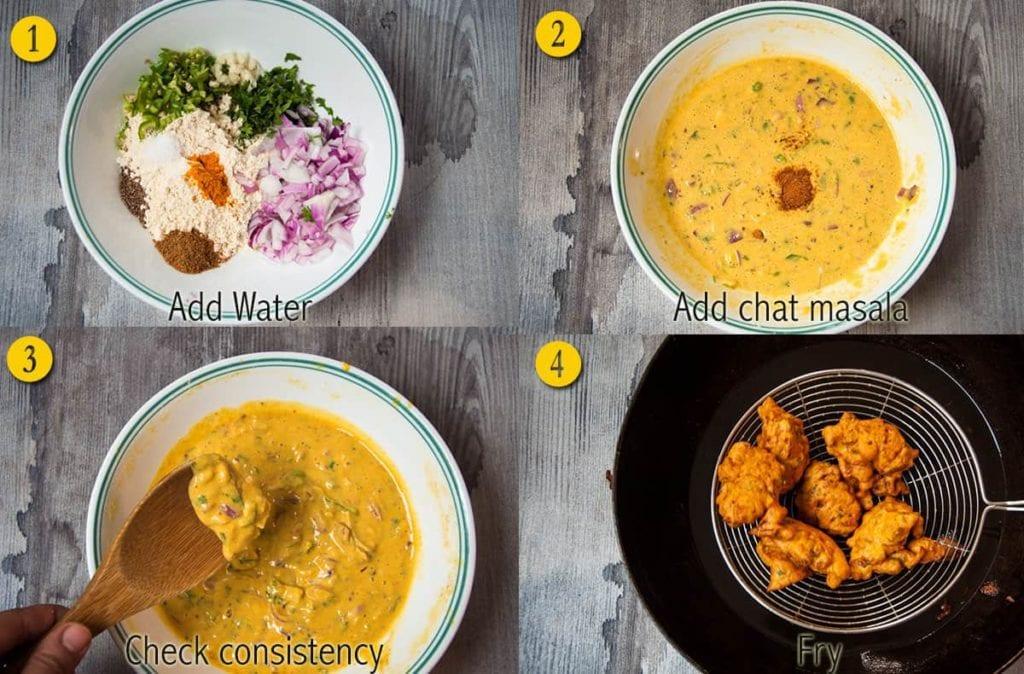 Steps to make pakora for curry.