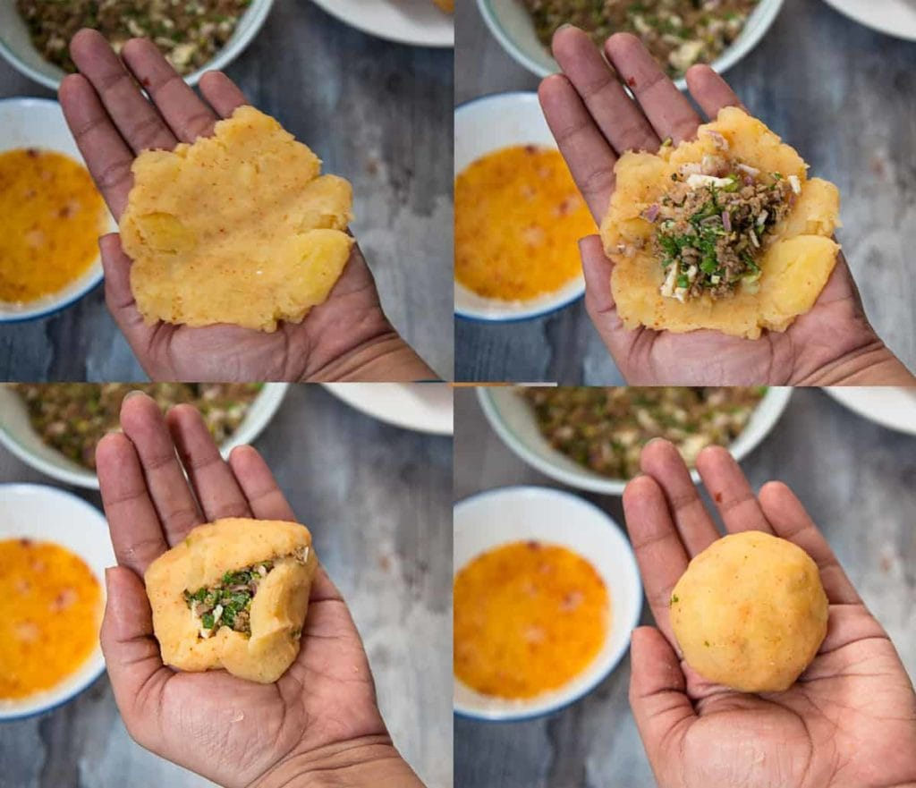 Steps to roll mashed potato balls with stuffing.