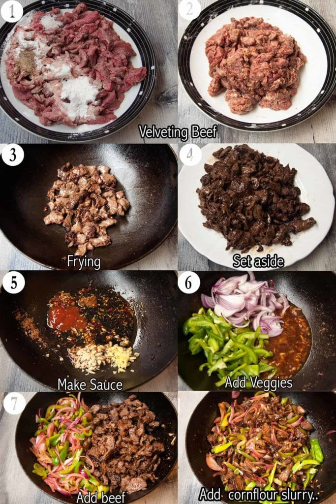 A collage of 8 steps to make beef chili dry
