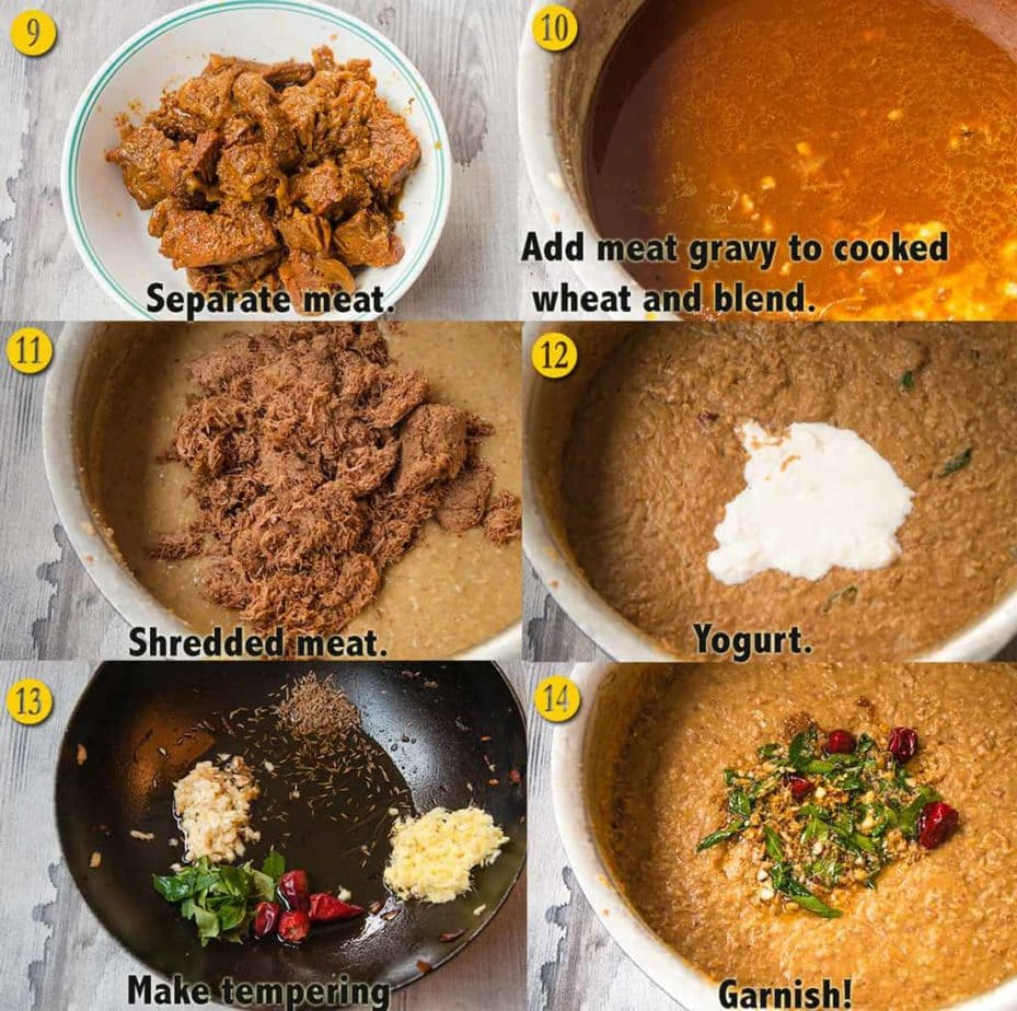 A collage showing steps to assemble haleem.